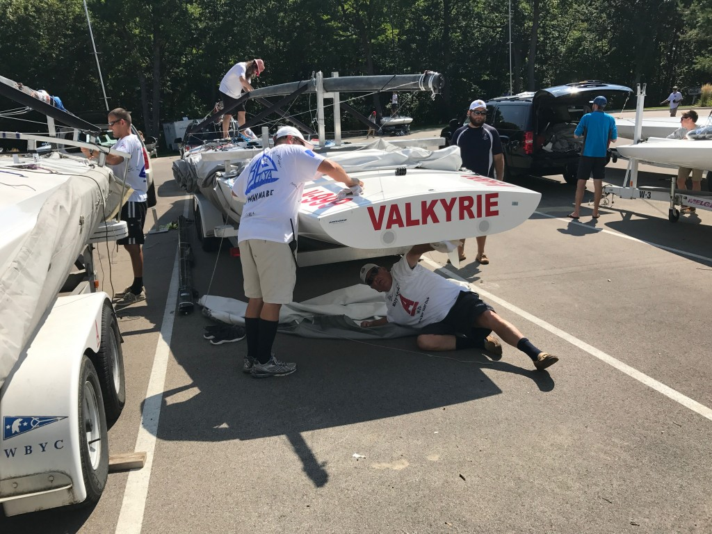NCASA Executive Director Todd Haines makes good use of Wannabe labor to get his boat ready.